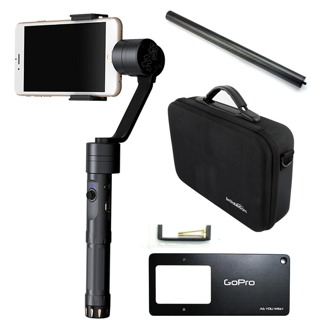 Zhiyun Z1-Smooth-II Handheld Gimbal Stabilizer With Remote Portable Case Tube for smartphone in 6.5 Mount for Gopro 4 F18165-AB<br><br>Aliexpress