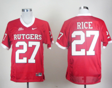 Nike Rutgers Scarlet Knights Ray Rice 27 Red Big East Patch College Jersey Ice Hockey Jerseys red M,L,XL,XXL,3XL(China)