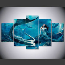 Sale 5 Panels Painting Canvas Wall Art Pictures Mermaid male female blue sea For Living Room Print Modern Oil IM-155