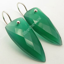 Chanti International Silver Authentic GREEN ONYX Triangle WELL MADE Earrings 3.7 CM NEW(China)