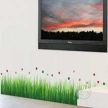 ladybug cornfield green grass stickers wall sticker home decor diy adhesive art mural picture poster removable vinyl AY768(China)