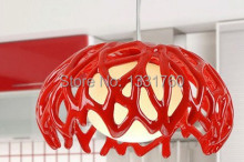 Dia 35cm modern pendant lamp resin and glass pendant light modern design red white color living room dinning room nest lamp
