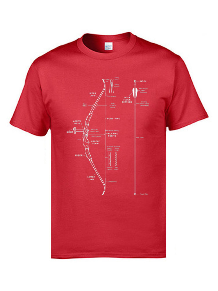 Crazy Geek Summer Fall Pure Cotton O-Neck Men Tops Tees Custom Tee Shirt 2018 Popular Short Sleeve T Shirts Wholesale Compound Bow Archery Hunting Anatomy T Shirt   Funny Bow  14563 red