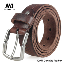Men Leather Original Top Grain Leather Belt Casual Belts Black Pin Buckle Genuine Leather Belt Male Cowhide Strap Male Cintos(China)