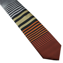 Men's Suit ties New Design Black With Orange/Brown/Yellow/White horizontal Striped Necktie Skinny Tie 6cm Dress Shirts Wedding