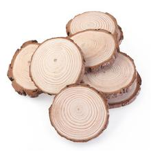 10pcs 7-9CM Wood Log Slices Christmas Birthday Baby Shower Rustic Country Wedding Decoration DIY Crafts Wedding Centerpieces(China)