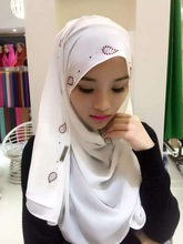 11 colors 2017 New Chiffon hijab scarf,women hijab head scarf with beads stones,long shawls wraps Jersey muslim scarf(China)
