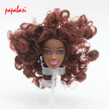 1PCS Brown Hair Doll Head For FR Black Dolls DIY head as for Barbie Dolls Hair Head(China)