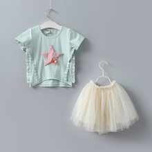Baby Girls Stars Tees + Tutu Skirts 2pcs Sets Cute Baby Summer Outfits Wholesale 5pcs/lot