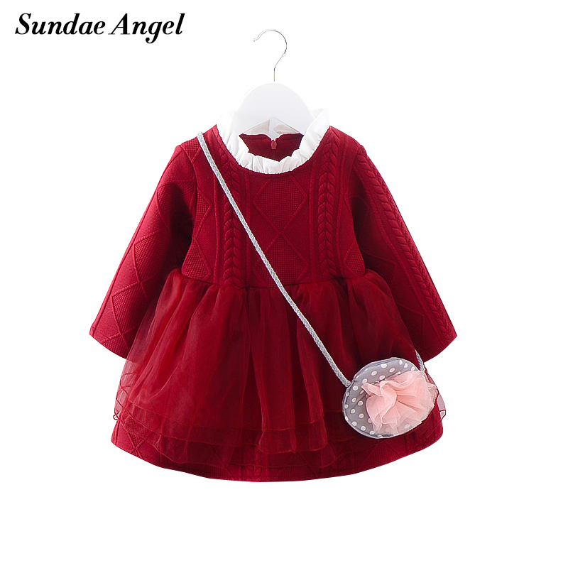 Sundae Angel New Arrival 2017 Girl Dress Long Sleeve Grew Neck Voile Flower Sweter Baby Girls Party Dresses Kids Clothes<br><br>Aliexpress