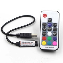 5V USB RGB LED Controller 17key RF Wireless Mini Remote Controller for RGB 3528 5050 smd Led Strip tape lighting 5v