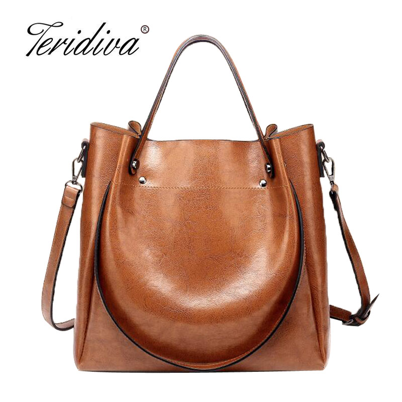 Teridiva Brand Women Oil Wax Leather Shoulder Bags Vintage Designer Handbags Female Big Tote Bag Womens Messenger Bags 2017<br>