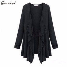 Gamiss Fashion Women Casual Knitted Sweater Long Sleeve Coat Jacket Outwear Solid Loose Lady Top Gray Black Cardigan Female