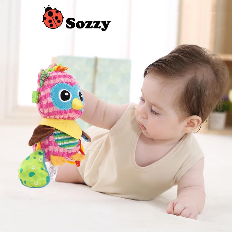 Sozzy Baby Animals Buddies Placate Activity Stuffed Plush Lion Dog Owl Elephant Monkey Teether Toy cm Multicolor Multifunction 3