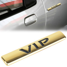MAYITR 3D Metal VIP Emblem Gold Sticker Car Side Body Trunk Badge Decal for Teana Peugeot 307 Bmw E39 Ford Focus Passat B5