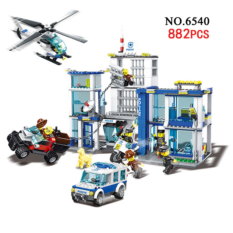 Classic Toy Urban Police Station building bricks helicopter jail cell add fugitive figures lepincity models blocks toys for kids<br>