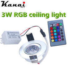 3W Dimmable RGB led panel ceiling light LED lighting with 24 ket memory remote control wall lamp lighting(China)