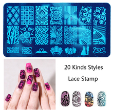 Lace Blue Film Printing Templates Nail Stamp Stencils Decoration Nail Tools Manicure 20patterns/sheet Nail Sticker Decorations(China)