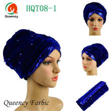 Classic Turban African headwrap and scarf , beads sequins soft African headtie gele, african turban gele, women headtie.HQT08(China)