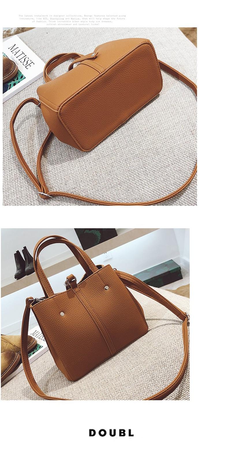 2017 New Lock Buckle Top-Handbag Women Fashion Single Shoulder Bag High Quality PU Leather Ladies Bucket Casual Tote Bag