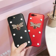 10pcs/lot Brand China Red Bee beryl Rhinestone Pearls Soft TPU Back Skinny Cover Case For iphone6s 7/7plus body Protection