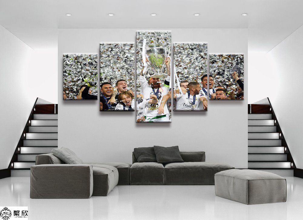 5 Panel Champions League Real Madrid Canvas Printed Painting For Living Room Wall Art HD Decor Modern Artworks Animation Poster(China)