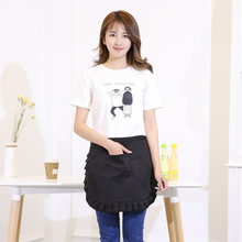 Black Lovely Women Bib Apron with Pockets Chef Cook Tool Coffee Color Polyester Apron Household Cleaning Accessories