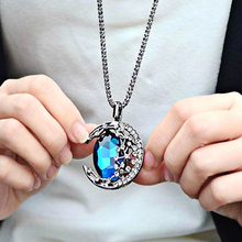 New hot Vintage Pendant Necklace Crescent Moon fashion Long sweater chain Moonlight Glass Accessories fine Necklaces for women