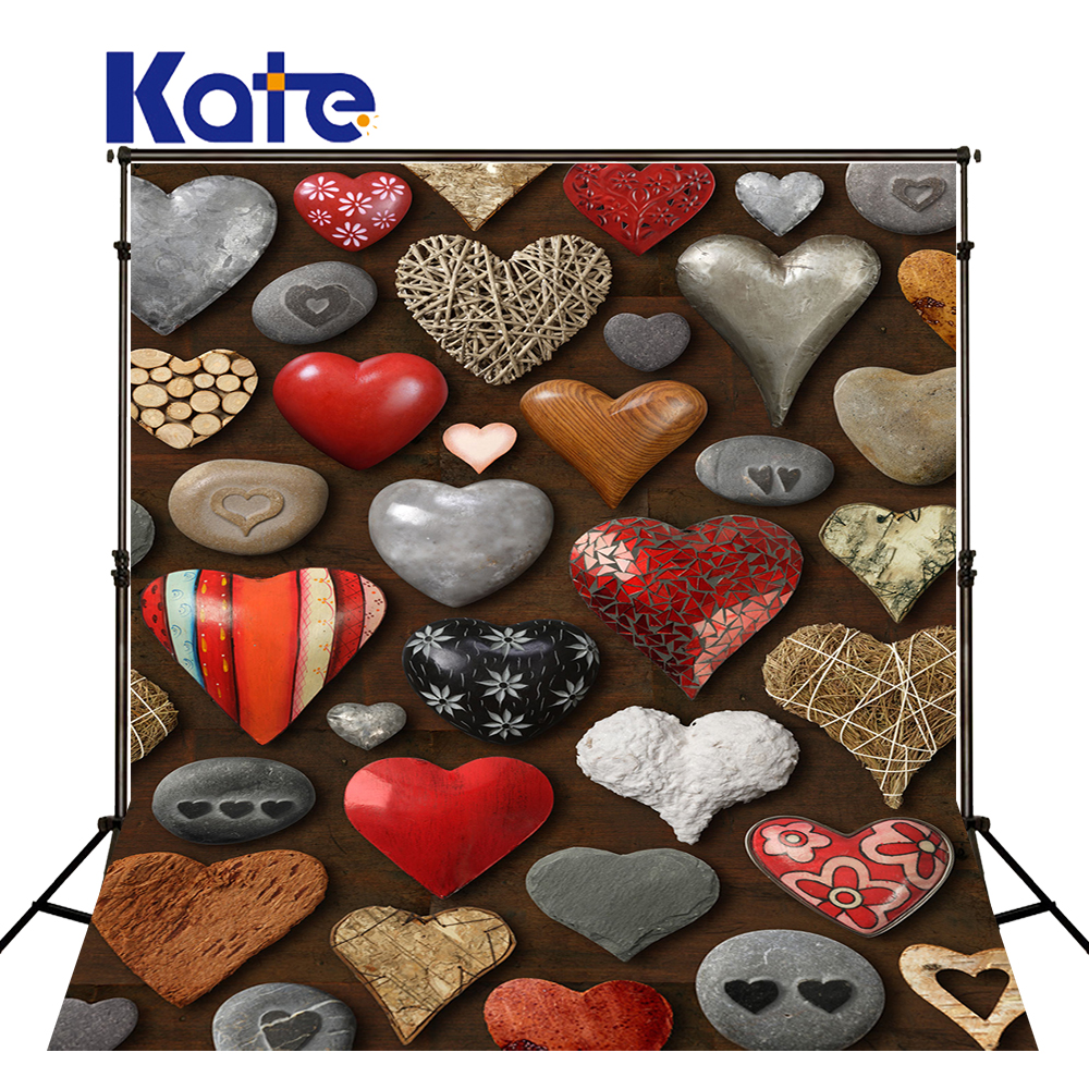 KATE ValentineS Day Photography Backdrop Photography Backdrops Love Stone Background Vintage Wood Floor Photo for Baby Studio<br>