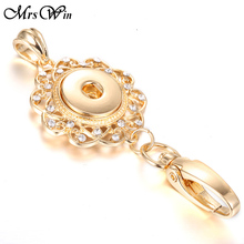 Mrs Win Snap Jewelry Beautiful Gold Snap Key Chains Crystal 18MM Snap Keychains Lanyard Keyring for Women Female