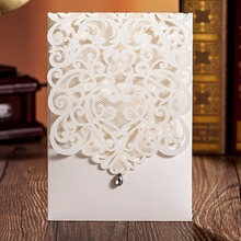 12pc Shinny gold giltter paper wedding invitation card chic laser cut 2017 classic pocket design custom size printing inner page(China)