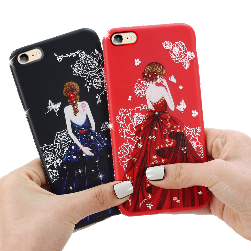 dress girl silicone case iphone 6 s 7 8 plus (1)