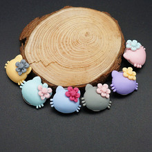 New NS0035 mixed 10pcs 18MM Resin Lovely Kitty charm snap buttons fit DIY charm snap bracelet jewelry wholesale