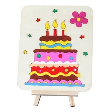 Children's Drawing Three-dimensional Hand-painted Wood Board With A Bracket Diy Graffiti Material - Cake + Display Stand(China)