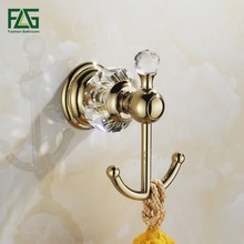 FLG Free Shipping Bathroom Accessories Wall Mounted Brass Crystal Golden Color Double Robe Hook Clothes Hooks Coat hooks 87502(China)