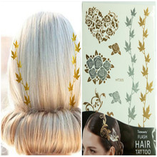 Hair Tattoos Girls Gold Flower Leaves Fashion Design Harajuku Hair Decoration 1pcs Temporary Tattoo