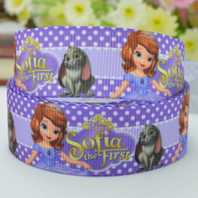 "Free shipping 7/8"" 22mm Sofia the first Princess Printed grosgrain ribbon hairbow DIY handmade wholesale OEM 50YD(China)"