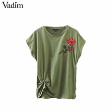 Vadim women sweet flower embroidery pleated T shirt short sleeve o neck basic tees ladies casual tops camisetas mujer DT1031