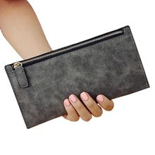 Banabanma 2017 Women Fashion Simple Wallet Soft Frosted PU Clutches Solid color Coins Purse Handbag with Zipper Closure ZK30(China)