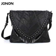 All-match Genuine Leather Women Handbags Designer Tassel Female Shoulder Bags Rivet Bag Woman Crossbody Bag Studs Ladies(China)