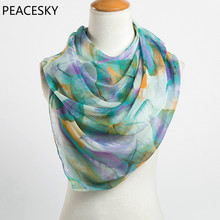 2017 fashion leaves printing long georgette scarf women silk scarves new 2017 Spring and Winter girls shawl echarpe from india