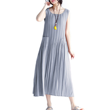 yinlinhe Fashion Thin Loose Women Sundress Summer Sleeveless Plated Beach Style Long Dress Big Size Female Casual Clothes 291