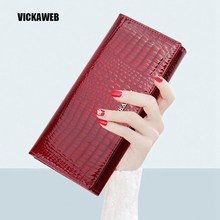Women Wallets Genuine Leather Wallet Female Purse Long Coin Purses Holders Ladies Wallet Hasp Fashion Womens Wallets And Purses(China)