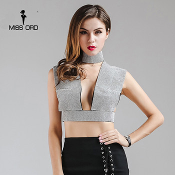 Missord 2017 sexy Profonde-V Fuite épaule flare Strass sans manches top FT6861-1