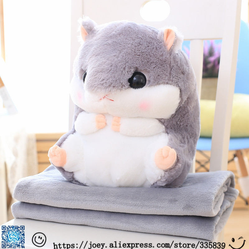 Super Cute 6 Colors 35x30Cm (Blanket 1x1.6m) Hamster plush pillow cushion cloth doll stuffed animals kids birthday gift Toys<br>