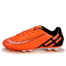 New Soccer Shoes Men Athletics Spikes Shoes Boys Football Sneakers Outdoor Training Soccer Boots Kids Boys Orange Blue Cleats
