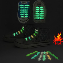 12 pcs/Set Silicone Light up Fashion LED Luminous Shoelaces Flash Party Glowing Shoe Lace Shoestrings Lazy No Tie Shoeslace hot(China)