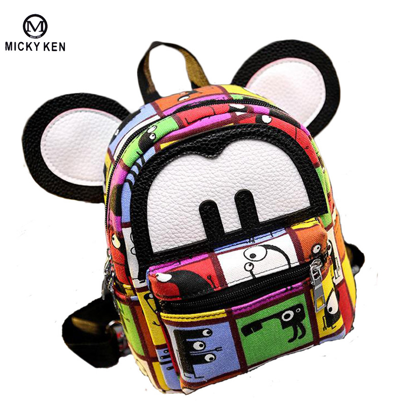 2017 Women Mini Backpack Cute Mouse Ears Leather Small Rucksack Laptop Bag Back Pack Shoulder Straps For Teenage Girls/Kids B052(China (Mainland))