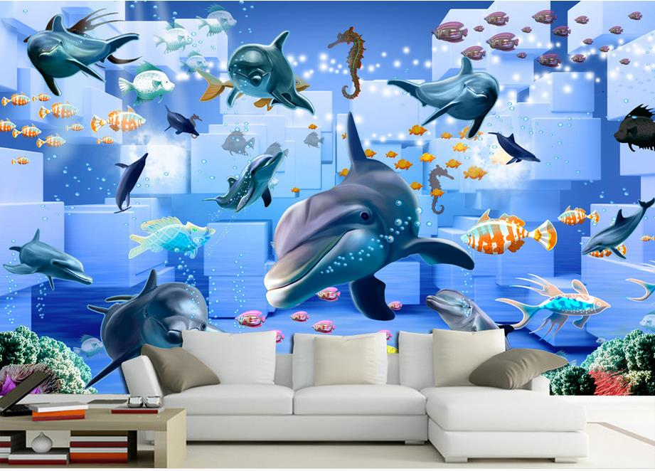 moderne tapete 3d custom wallpaper for walls Childrens room mural Dolphin wallpaper for bedroom walls 3d stereoscopic wallpaper<br><br>Aliexpress