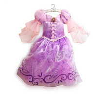 2017 NEW girls princess gorgeous Party costume dress Christmas Long sleeve tutu lace purple fancy costumes free